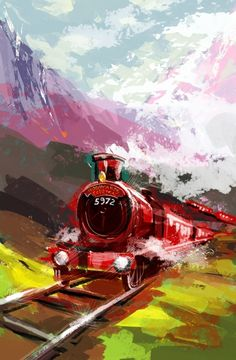 Hogwarts Express painting...I totally want this hanging in my room.