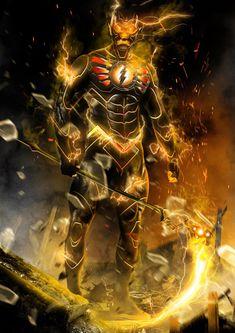 Flash -God of Death by on DeviantArt Flash Comics, Dc Comics Art, Marvel Dc Comics, Marvel Comic Universe, Marvel Art, Blue Ghost Rider, Foto Batman, Flash Characters, Speed Racer