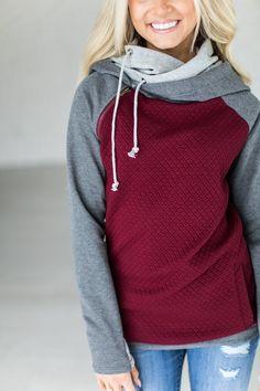 DoubleHoodTM Sweatshirt - Quilted Maroon #ad