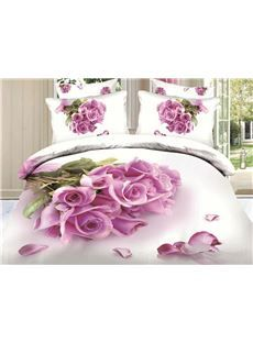 New Arrival Top Class Skincare Bunch of Pink Roses 3D Print 4 Piece Bedding Sets