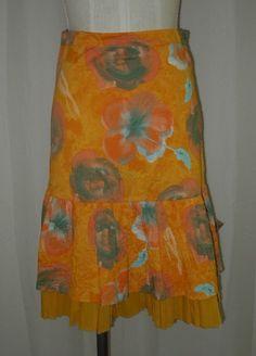 Piazza Sempione Orange Gold Green Cotton Floral Print Skirt 38