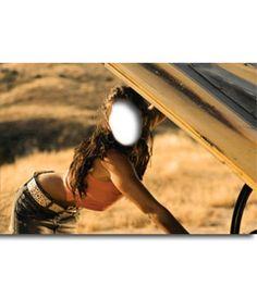 #Fotomontaje de Megan Fox arreglando un #coche para hacer online con tu #foto. #meganfox www.fotoefectos.com