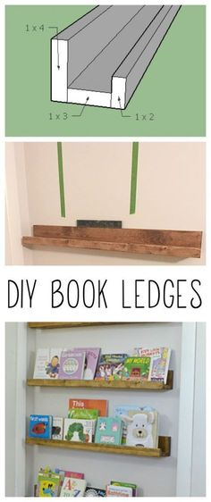 DIY Book Ledges - Simple and Affordable Organization - Refresh LivingWhat a great way to use wasted space behind a door! These shelves are cheap and easy to build.Troubleshoot your kitchen - DIY shelves to Easy Home Decor, Cheap Home Decor, Diy Wood Projects, Home Projects, Book Ledge, Picture Ledge Shelf, Picture Frame, Diy Regal, Floating Shelves Diy