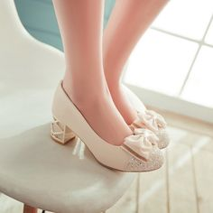 Ladies Pointed Toe Lace Bowknot Shoes Casual Low Heel Block Pumps Fahion in Clothing, Shoes & Accessories, Women's Shoes, Heels Pretty Shoes, Cute Shoes, Bow Shoes, Shoes Heels, Sequin Shoes, High Heels For Kids, Kawaii Shoes, Lolita Shoes, Rhinestone Bow