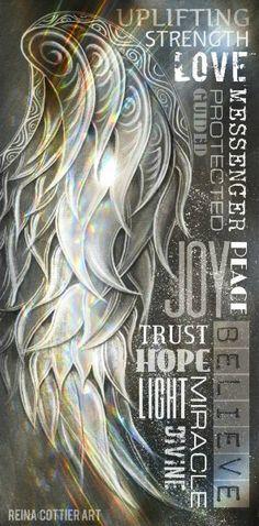 Angel Wing Word Art ~ by Reina Cottier Art. http://reina-cottier.artistwebsites.com/featured/angel-wing-word-art-reina-cottier.html