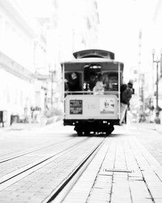Black And White Photography, Urban Art,  San Francisco Photography-Cable Car, City, Travel, Urban Home Decor, Street Photography