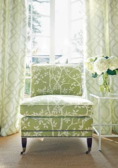 Chelsea Chair from Thibaut Fine Furniture in Sylvan Leaves woven fabric in Kiwi Decor, Furniture, Green Curtains, Room, Living Room Green, Interior, Green Decor, Green Rooms, Spring Interiors