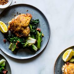 Chicken Thighs Recipe with Bacon and Escarole - Bon Appétit
