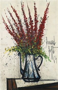 Bernard Buffet - DELPHINIUMS ROUGES; Creation Date: 1964; Medium: oil on canvas; Dimensions: 81.5 by 54cm.