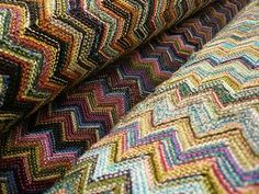 Missoni! Crochet Crafts, Knit Crochet, Zig Zag Pattern, Knit Fashion, Italian Fashion, Missoni, Stripes, Blanket, History