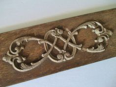 """Antique Architectural Detail Wood Carved Wood Rustic Shabby 13.5"""" x 3.75"""" #Unknown"""