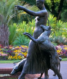 THE GODDESS DIANA (Goddess of wildlife and the hunt) IS OFTEN DEPICTED WITH GREYHOUNDS.