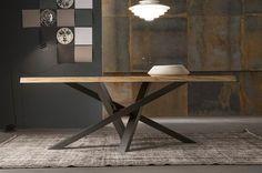 SHANGAI Mesa de acero inoxidable y madera by RIFLESSI