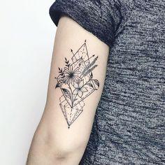 Geometric bouquet tattoo