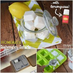 Homemade Dishwasher Tablets with Lemongrass on Frugal Coupon Living. More Essential Oil DIY. Dishwasher Tabs, Dishwasher Detergent, Homemade Cleaning Products, Natural Cleaning Products, Natural Products, Homemade Essential Oils, Cleaning Hacks, Cleaning Recipes, Soap Recipes