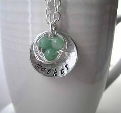 Mother's nest necklace  Nest is More Silver by Marleyjanedotcom, $29.75  My friend Jen is so talented!
