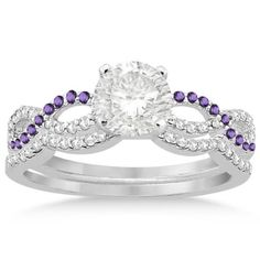 Infinity Diamond & Amethyst Engagement Ring Set 14k White Gold 0.34ct, Women's, Size: 7