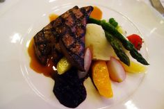 Ontario Provimi Liver. Grilled, with sauteed vegetables, pommes puree, pickled wild blueberries and veal reduction. Pangaea Restaurant, 1221 Bay St., Toronto.