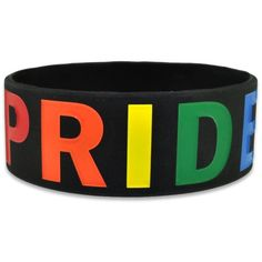 PRIDE Rainbow Wide Rubber Silicone Bracelet ($3.95) ❤ liked on Polyvore featuring jewelry, bracelets, accessories, pride, rubber bracelets, silicone jewelry, rubber jewelry, wide bangle, rainbow jewelry and rubber bangles