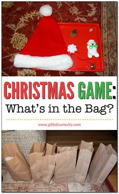 Christmas game: What's in the bag? What's in the bag? is a quick, simple, and inexpensive Christmas game that can be played by kids of all ages Preschool Christmas Games, Christmas Games For Family, Xmas Games, School Christmas Party, Holiday Party Games, Christmas Games For Kids, Christmas Bags, Holidays With Kids, Simple Christmas