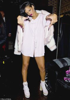 Rihanna poses backstage at Webster Hall on the final day of her 777 Tour in New York