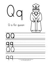 Q is for Queen  ABC Printing Practice Page from Making Learning Fun.