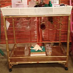 """Our Madison Mixer style spotted at TY Wise Meares! """"Love this bar cart by society social. Textured top and you can pick so many beautiful colors. Furniture Decor, Furniture Market, Bamboo Bar, Clean Sheets, Bar Cart Styling, Dinner With Friends, Party Entertainment, Dream Decor, Design Elements"""