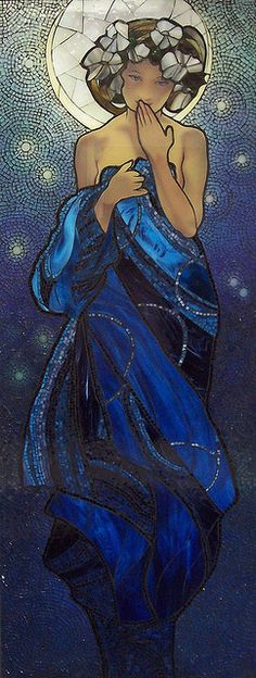 Inspired by Mucha's Night Sky Glass on wood 2 ft x 6ft Kathleen Coyle Keswick Ont