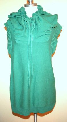 Anthropologie Shae 100% Cotton Knit Teal Green Sleeveless Tunic Sweater