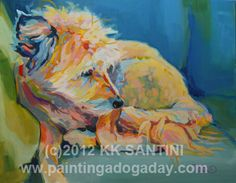 """Bed Head,"" painted dog portrait by Kimberly Kelly Santini of Painting a Dog a Day"