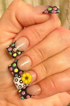 Acrylic color nail design   with gel dots