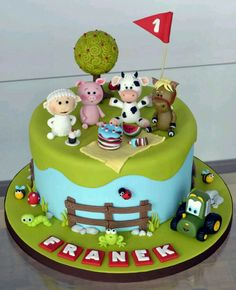 Farm animals picnic cake - Cake by Crumb Avenue Farm Birthday Cakes, Animal Birthday Cakes, Farm Animal Birthday, Birthday Ideas, Fancy Cakes, Cute Cakes, Farm Animal Cakes, Farm Animals, Animal Cakes For Kids