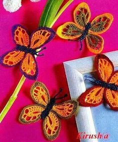 Picture only. Beautiful crochet butterflies. Pinned for inspiration.