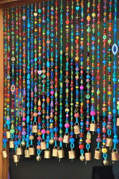 Beaded curtain-Bead Curtain- Bohemian Curtain-Window curtain-beaded door curtain-hanging door beads-beaded wall hanging-bohemian wall art by RonitPeterArt on Etsy