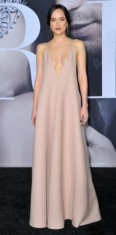 Dakota Johnson nude slip dress