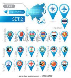 Asia. flag pointer. vector Illustration.