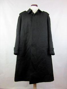 Men's Black Wool Blend Trench Coat Overcoat Mac Long City Wear XLarge cj94    eBay
