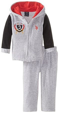 US Polo Assn Baby Boys Velour Hooded Jacket and Pant Set Light Heather Gray 24 Months *** You can find out more details at the link of the image.