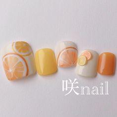 Fruit Nail Designs, Cute Nail Art Designs, Feet Nail Design, Fruit Nail Art, Korean Nail Art, Feet Nails, Minimalist Nails, Best Acrylic Nails, Yellow Nails