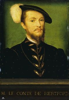 Le Duc d'Etampes . .  Corneille de Lyon (vers 1500-vers 1575)....The later inscription led to the sitter's misidentification as Edward Seymour (c.1506-1552), brother of Jane Seymour, who was created Earl of Hertford (1537) and Duke of Somerset (1547). However the model's appearance does not match a miniature of Seymour painted by Nicholas Hilliard after an earlier lost portrait (1560; London, National Portrait Gallery). Moreover, the sitter wears the French order of Saint-Michel. The…