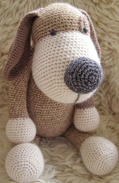 Crochet Doggy Crochet Teddy Bear Pattern, Crochet Animal Amigurumi, Knitted Animals, Crochet Bunny, Cute Crochet, Baby Knitting Patterns, Crochet For Kids, Amigurumi Doll, Amigurumi Patterns