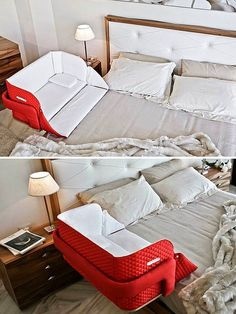 15 Genius Inventions For Kids That Make Parents' Lives Easier Baby Crib Bedding, Baby Bedroom, Baby In Crib, Baby Beds, Bedroom Sets, Baby Inventions, Clever Inventions, Portable Baby Cribs, Baby Life Hacks