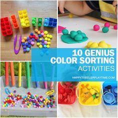 On a mission to get your toddler or preschooler to learn their colours? Check out this great list of genius colour sorting activities! Cognitive Activities, Autism Activities, Toddler Learning Activities, Sorting Activities, Montessori Toddler, Toddler Preschool, Kids Learning, Sorting Colors, Preschool Special Education