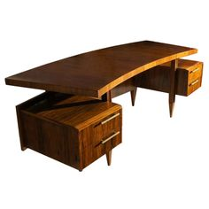 View this item and discover similar for sale at - A rare desk by Scapinelli with a curved top and two 'floating' drawers on each side. Woodworking In An Apartment, Woodworking Desk Plans, Sketchup Woodworking, Woodworking Basics, Woodworking Patterns, Woodworking Machinery, Woodworking Videos, Mid Century Modern Design, Mid Century Modern Furniture