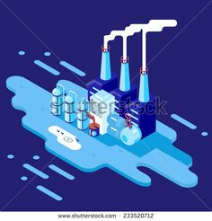 Isometric Retro Flat Factory Refinery Plant Manufacturing Products Processing Natural Resources with Distribution Network Pipes Concept Vector Illustration