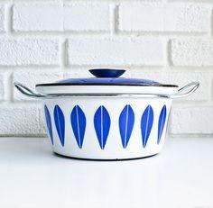 Mid century vintage Cathrineholm blue on white lotus pot.