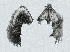 Angel vs devil wing tattoo: )
