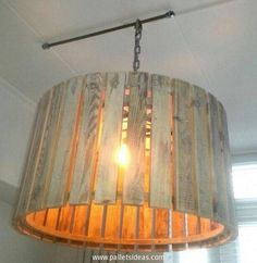 One of the best pallet wood creations is the pallet wood lighting ideas that can be executed using the same repurposed wood pallet. A common Edison bulb is enclosed with a wooden shade and hanged along the roof, this is an attention grabber.