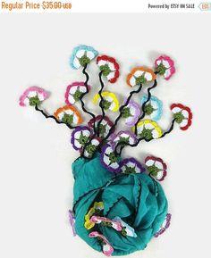 CHRISTMAS Silk Scarflette Green scarf Turkish oya by Nakkashe