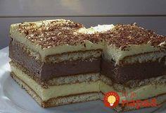 Potrebujeme: Balíčky vanilkových BeBe sušienok 1 l mlieka 1 bal. čokoládový puding 1 bal. vanilkový puding 7 lyžíc kryštálového cukru (alebo podľa chuti) Čokoláda na varenie (pár kúskov) do čokoládového pudingu 2 tégliky kyslej smotany 100 g masla čokoláda na ozdobu Voliteľné: mlieko, alebo kávu na pokvapkanie Postup: Dno hlbšieho plechu vyložíme sušienkami. Z 1/2... Tutti Frutti, Tiramisu, Biscuit, Cheesecake, Food And Drink, Cookies, Ethnic Recipes, Cookie Favors, Cheesecake Cake